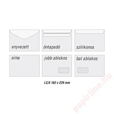 Boríték GPV LC/5 szilikonos bélésnyomott 162x229mm bal ablakos 45x90mm B20A60 500 db/doboz