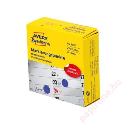 Etikett AVERY 3857 öntapadó jelölőpont adagoló dobozban kék 19mm 250 jelölőpont/doboz