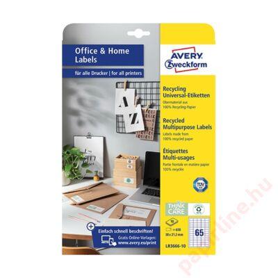Etikett AVERY LR3666-10 38x21,2mm univerzális  környezetbarát  650 címke/doboz 10 ív/doboz