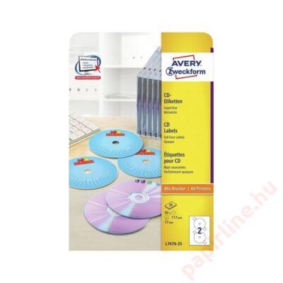 Etikett AVERY L7676-25 117mm univerzális 50 címke/doboz25 ív/doboz