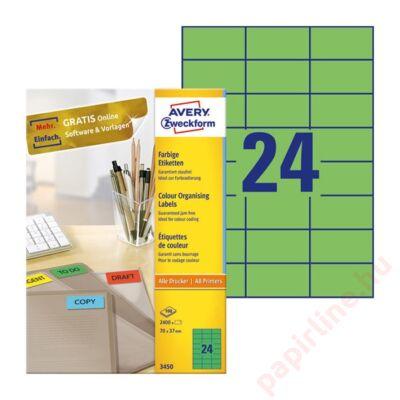 Etikett AVERY 3450 70x37mm univerzális zöld 2400 címke/doboz 100 ív/doboz