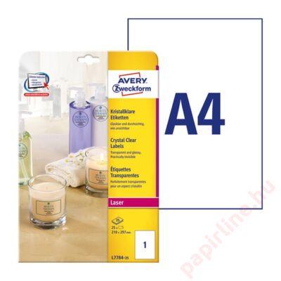Etikett AVERY L7784-25 210x297mm laser víztiszta átlátszó 25 címke/doboz 25 ív/doboz