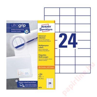 Etikett AVERY 3474 70x37mm univerzális 2400 címke/doboz 100 ív/doboz