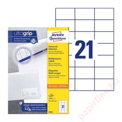 Etikett AVERY 3652 70x42,3mm univerzális 2100 címke/doboz 100 ív/doboz