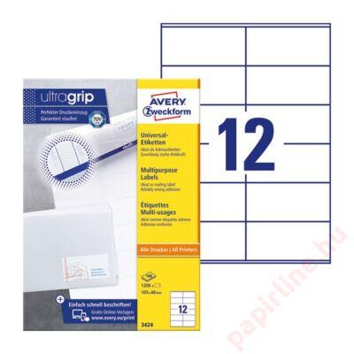 Etikett AVERY 3424 105x48mm univerzális 1200 címke/doboz 100 ív/doboz