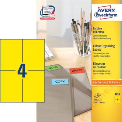 Etikett AVERY 3459 105x148mm univerzális sárga 400 címke/doboz 100 ív/doboz