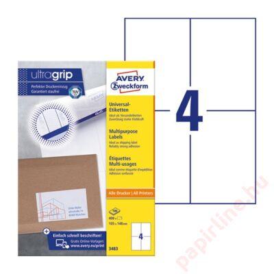 Etikett AVERY 3483 105x148mm univerzális 400 címke/doboz 100 ív/doboz