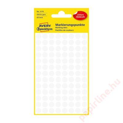 Etikett AVERY 3175 jelölőpont 8mm fehér 416 db/csomag